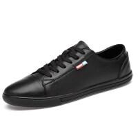 真皮板鞋男人休闲鞋百搭鞋子男韩版潮流男鞋夏季薄款透气黑色皮鞋