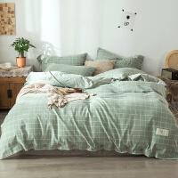 床上用品四件套全棉纯棉简约北欧风床单被套1.5/1.8米双人四件套床笠纯色学生宿舍三件套