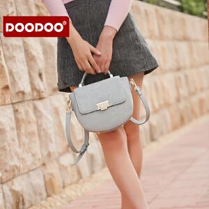 【支持礼品卡】DOODOO 包包2018新款韩版秋冬季时尚百搭马鞍包手提斜挎包女包小包潮 D6212