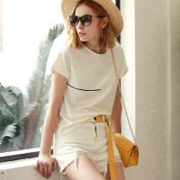 【会员节! 每满100减50】Amii[极简主义]2017夏装新款女大码休闲连袖个性印花T恤11732976
