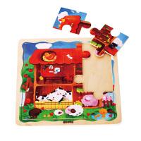 木玩世家比好农场拼图 早教益智木质玩具 智力开发 生日礼物