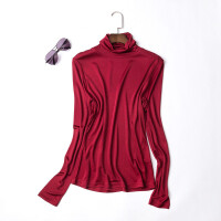 女式秋冬真丝双面针织高领打底衫桑蚕丝长袖衬衫打底上衣女装T恤