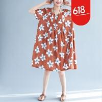 原创夏季加肥加大码女装胖MM三亚巴厘岛海边度假旅游胖妈妈棉麻连衣裙GH063 均码