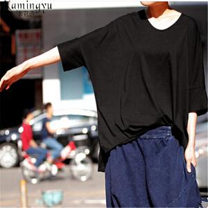 卡茗语 纯色T恤女夏装新款2017韩版宽松短袖女款体恤百搭白色上衣