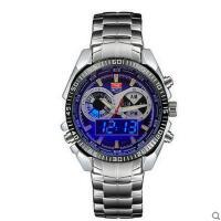 时尚潮男复合表盘多功能手表夜光防水不锈钢表带石英表