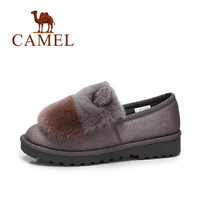 camel/骆驼女鞋  秋冬新品 个性绒面丑萌鞋加绒毛毛鞋兔毛低跟单鞋女
