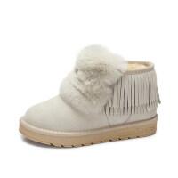 camel 骆驼女鞋 冬季新款 可爱丑萌鞋兔毛雪地靴流苏防滑保暖短靴子