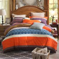 新款全棉斜纹加厚磨毛四件套秋冬保暖纯棉床上用品四件套 规格4 被套220x240 床单245x270