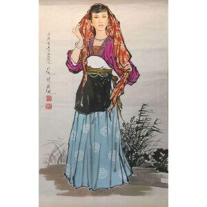 朝鲜水墨画 一级画家 李成民《娇媚》【大千艺术品】