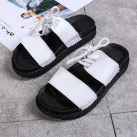 韩版防滑拖鞋女夏时尚室外穿凉鞋厚底百搭一字拖系带罗马沙滩凉拖