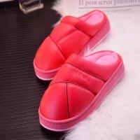 冬季防水棉拖鞋pu面居家用室内木地板男女情侣保暖厚底棉拖鞋