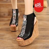 原创女士凉鞋2018新款女夏坡跟 百搭 超高跟 防滑凉靴短靴民族风复古GH09 黑色