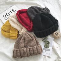 青年韩版学生针织帽子冬季男女毛线帽潮流情侣包头帽保暖时尚纯色