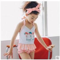 新款儿童游泳衣女宝宝公主款泳装配泳帽中小童分体裙式可爱小可礼品卡支付
