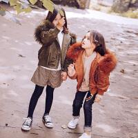 女童羽绒服短款2017秋冬新款儿童冬装外套宝宝童装连帽大毛领潮衣