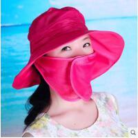 遮脸防晒遮阳帽女可折叠帽子潮骑车防紫外线太阳帽 网帽透气可礼品卡支付