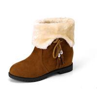 雪地靴女中筒靴子女冬季棉鞋学生韩版加绒加厚平底内增高新款短靴 卡其色 37 偏小一码