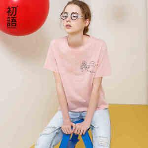初语夏季新款迪士尼公主印花短袖T恤女圆领纯棉文艺宽松大码上衣