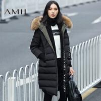 AMII[极简主义]女冬新品字母织带可拆毛帽中长羽绒服11673166