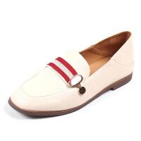 【依思q秋冬上新】依思q新款英伦两穿后跟条纹方头单鞋平稳低跟女鞋18154047