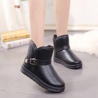 防水皮面雪地靴女款短靴冬季加绒加厚棉靴防滑短筒女靴子学生棉鞋