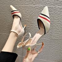 一字扣包头中空凉鞋女夏季新款时尚飞织尖头高跟鞋女细跟中跟单鞋