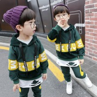 男童套装双面绒秋冬装小童洋气儿童金丝绒两件套宝宝卫衣