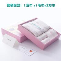 日系纯棉纱布浴巾 家用纯棉吸水浴巾礼盒4件套装 70x140cm