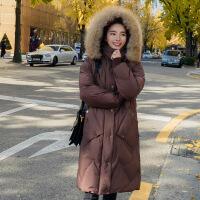 反季棉袄女2018新款加厚外套中长款韩版冬装棉衣学生宽松bf 咖啡色-配假毛领 S
