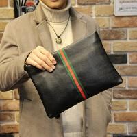 男士手拿包韩版潮休闲手包大容量条纹手抓包皮质夹包 黑色