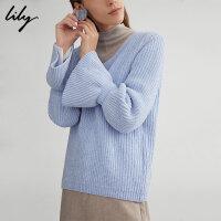 【不打烊价:179.7元】 Lily春新款女装纯色V领宽松直筒毛衣毛针织衫118410B8773