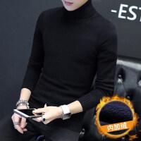 高领毛衣男2018新款韩版秋冬季男士黑色线衣修身加绒加厚针织衫潮 黑色加绒07