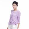 灏领衣尚钩花镂空潮宽松打底圆领中袖短款套头薄毛衣女紫色开衫针织衫