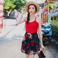 沙滩裙女夏2018海边度假半身裙波西米亚雪纺短裙 图片色