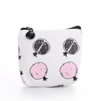 创意简约蜜语帆布零钱包 彩色卡通草莓图案大容量卡包钥匙包