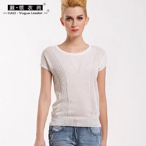 灏领衣尚春夏新款纯色镂空短袖针织衫显瘦简约T恤女上衣百搭短款