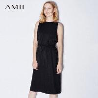 【1件7折/2件5折 再用券】Amii[极简主义]2017夏装新款大码无袖休闲腰带拉链连衣裙11773156