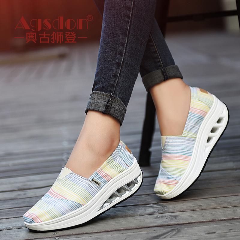 奥古狮登2017新款夏季女鞋韩版百搭帆布鞋女学生布鞋摇摇鞋透气
