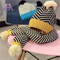 秋冬季儿童帽子围巾套装毛线帽男女童条纹针织帽子保暖两件套冬天