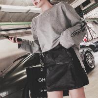 PU皮裙半身裙女2018新款高腰a字裙�r尚港味�凸湃棺影�臀裙短裙 黑色
