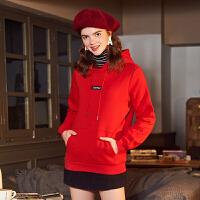 (1件116元)唐狮卫衣女款连帽净长袖加绒卫衣宽松潮上衣