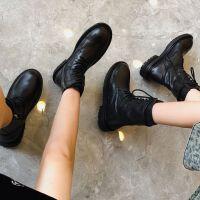 ins马丁靴女平底靴子秋冬季鞋子英伦风短靴ANN机车靴中筒骑士靴 黑色【单里】