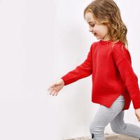 【每满100减50】迷你巴拉巴拉女童套头毛衣2018秋新款童装女宝婴儿开叉线衫针织衫