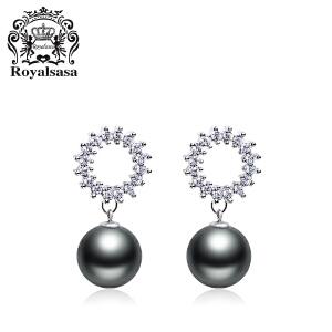 皇家莎莎贝珠耳钉女士银针日韩国版简约耳坠耳环仿水晶耳饰品礼物