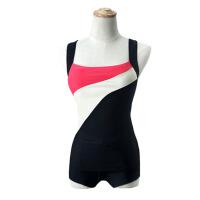 泳衣女保守 分体平角游泳衣遮肚撞色运动训练大码泳衣女