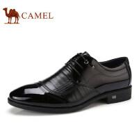 camel 骆驼男鞋2017秋季新品时尚舒适按摩垫脚系带商务正装皮鞋