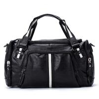 旅行包大容量户外男士旅行手提包时尚皮质潮男健身包斜跨包多口袋旅游包 黑色 大