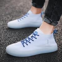 2019夏季透气男鞋的鞋子透明底帆布鞋男高帮韩版百搭潮流中帮鞋学生休闲潮鞋