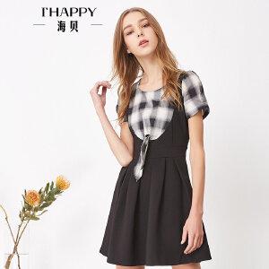 海贝夏季新款女装 圆领格子撞色假两件收腰修身显瘦短袖连衣裙