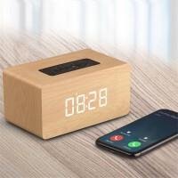 蓝牙木质时钟音箱重低音创意复古无线插卡户外便携式闹钟小音响
